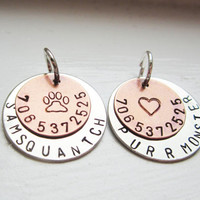 Personalized Pet ID Tag  Hand Stamped Copper and by GemsByEmily
