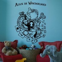 Wall Decal Vinyl Sticker Decals Art Decor Design Alice in Wonderland Kettle Rabbit Time Watch Clock Have Ou Gone Mad Nursery Kids Dorm Bedroom M1506