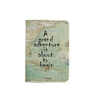 A Grand Adventure Is About To Begin World Map [Name Customized] Leather Passport Holder/Cover/Wallet_SCORPIOshop
