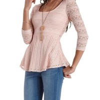 Pale Blush Striped Lace Peplum Top by Charlotte Russe