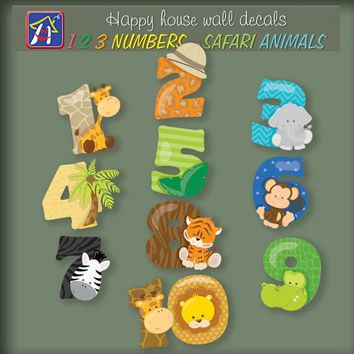 Numbers wall decal - Safari animals decals - Wild animals wall decals - 123 numbers decals - Nursery wall decor