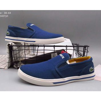 LACOSTE 2017 men and women casual trendy low-state canvas shoes F-A36H-MY Blue