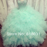 2014 New sweet 15 dress sweetheart neck beaded ball gown crystal mint puffy quinceanera dress-in Quinceanera Dresses from Apparel & Accessories on Aliexpress.com