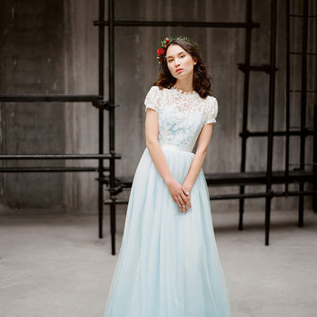 Ilaria // Sky blue tulle wedding dress - modest wedding gown - romantic tulle gown - short sleeve wedding dress - lace wedding dress