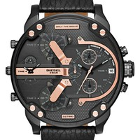 Men's DIESEL 'Mr. Daddy 2.0' Chronograph Leather Strap Watch, 57mm - Black/ Rose Gold