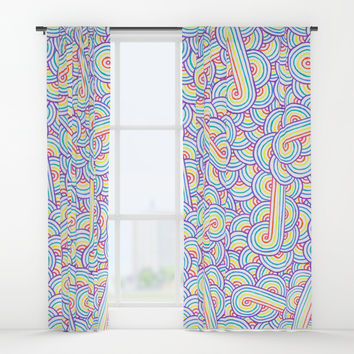 Rainbow and white swirls doodles Window Curtains by Savousepate