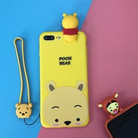 Fashion cartoon  Lanyard couple mobile phone case for iPhone X 7 7plus 8 8plus iPhone6 6s plus -171110