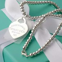 Tiffany & Co. Beads double-sided Silver Heart Necklace