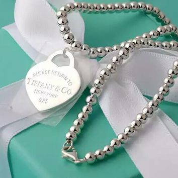 Tiffany   Co. Beads double-sided Silver Heart Necklace 2f247f4a04
