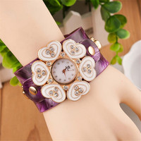 Fashion Womens Girls Casual Flowers Sports Leather Band Strap Bracelet Watch with Diamond Best Gift watches-433