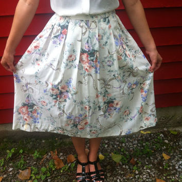 HighWaisted Floral Skirt // Ribbons // Bows // by HawkShopVintage