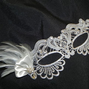 Soft Lace Silver Masquerade Mask with Feathers and Clear Stones