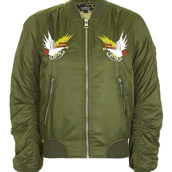 Embroidered Ma1 Bomber Jacket   Topshop