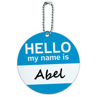 Abel Hello My Name Is Round ID Card Luggage Tag