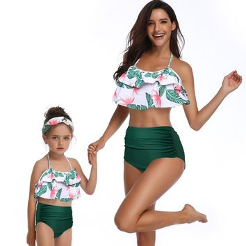 Women Ruffle Bikini Set family matching swimwear beachwear mommy and me swimsuit mother daughter Vintage high waist bikini