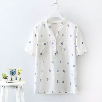 White Cactus Print Short-Sleeve Button-Up Shirt