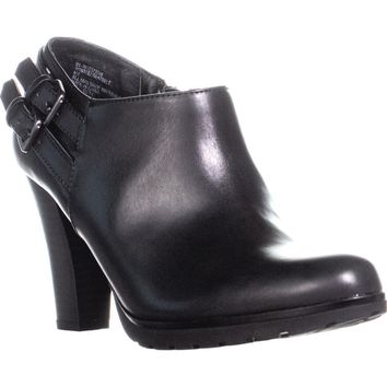 White Mountain Seatbelt Ankle Boots, Black Smooth, 6.5 US