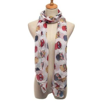 Lady Cartoon Cute Owl Bird Print Scarf Wrap Winter Warm Oversize Shawl Accessories