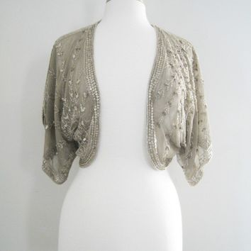 Topshop Beaded and Gold Sequined Bolero Top - Size Medium