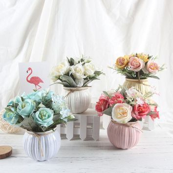 Artificial Rose Bouquet with Ceramic Flower Vase