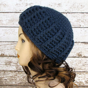 Indigo Watch Cap, Unisex Watch Cap, Crocheted Beanie