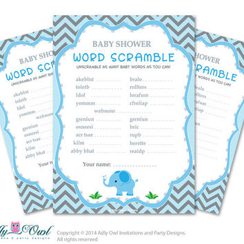 Boy Elephant Word Scramble Game, Guess Words, Unscramble the words Game  Elephant  Shower DIY Blue Green Chevron- oz01bs45