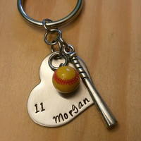 Hand Stamped Softball Keychain Bat Bag Charm Softball Keychain - Softball Girl - Softball Mom