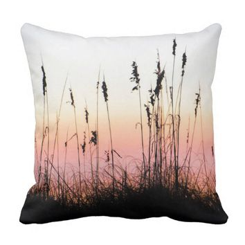 Sea Oats Silhouette Sunset Landscape Photo Throw Pillow