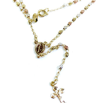 Small Jesus Center and Cross Tri Color Rosary