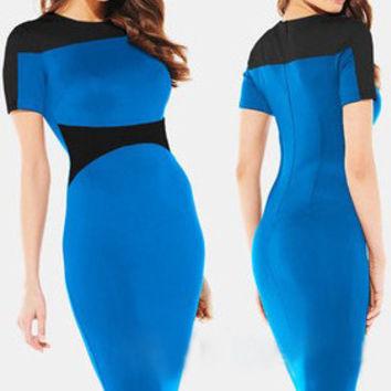 Blue Contrast Short Sleeves Bodycon Midi Dress