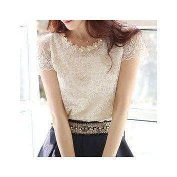 2015 new spring Summer women's chiffon shirts lace top beading embroidery o-neck blouses J8259 [9222255172]