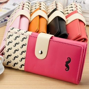 New women wallet High quality smooth PU leather mustache woman purse clutch wallets lady coin purse cards holder SV003811 Bag
