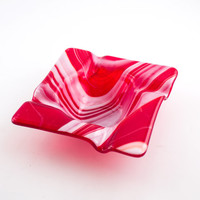 Red and White Cigar Ashtray, Fused Glass Ash Tray, Smoking Accessories, Square Design, Cigarette Tray, Unique Gifts for Men, Cigar Gifts