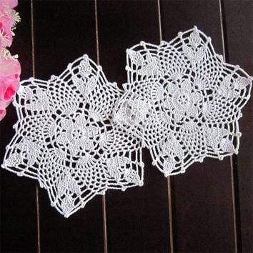 Newest!!!Cotton Mat Hand Crocheted Lace Doilies 1Pcs Flower Shape Coasters Cup Mug Pads Home Coffee Shop Table Decoration Crafts