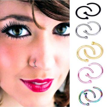 ac DCCKO2Q Nose Rings Body Piercing Jewelry Fashion Jewelry Stainless Steel Nose Open Hoop Ring Earring Studs Fake Nose Rings Non Piercing