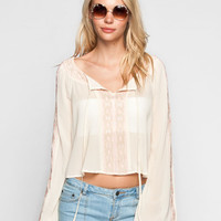 Blu Pepper Embroidered Womens Crop Top Cream  In Sizes