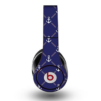 The Navy Blue & White Seamless Anchor Pattern Skin for the Original Beats by Dre Studio Headphones