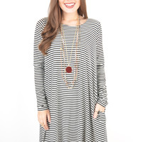 Long Sleeve Black and White Striped Swing Dress