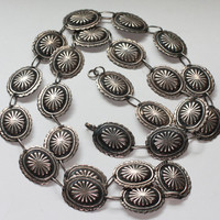 Sterling Concho Belt Southwestern Style Signed TR-78 Taxco Mexico