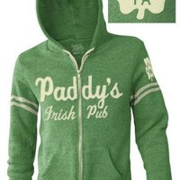 It's Always Sunny in Philadelphia Paddy's Irish Pub Heathered Green Hoodie Zip Up Sweatshirt