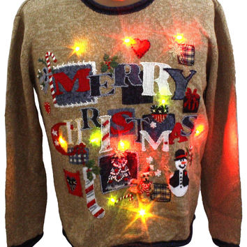Light up Ugly Christmas Sweater: -Heirloom Collectibles- Unisex heather tan background ramie cotton blend longsleeve light up (10 removable battery powered multicolored led Christmas flashing lights, batteries included) pullover Ugly Christmas Sweater, rou
