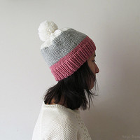 Hand Knitted Chunky Hat with Pom Pom - White / Silver Grey / Rose Stripes - Seamless - Wool Blend - Ready to Ship