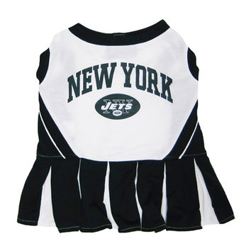 Mirage Pet Products Puppy Dog Cat Costume New York Jets Sports Team Logo Cheer Leading Uniform MD