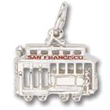 San Francisco Cable Car Charm In 14K White Gold