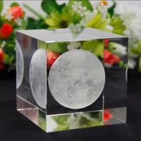 JQJ Crystal Glass Cube Moon Paperweights Clear Rare feng shui 3D Laser Engraving Figurines miniatures For Home Wedding Decor