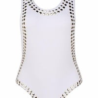 Metal Trim Body Suit White