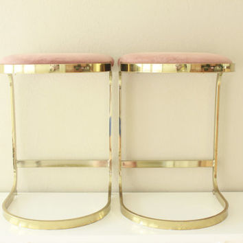 Vintage Brass Plated Cantilever Barstools Set of 2 | Milo Baughman | Pierre Cardin | Cidue | Hollywood Regency