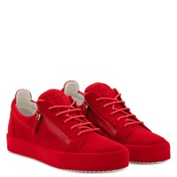 Giuseppe Zanotti Gz The Unfinished Red Leather Low-top Sneaker With Flocking Patina - Best Deal Online