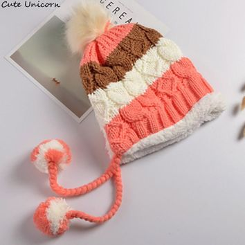 On sale Cute Unicorn three Ball For female Hat Cute sweet Caps 1 pcs  Knitted Baby Caps for women Christmas Gift women Hat