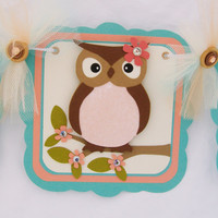Shabby chic owl baby shower banner, its a girl banner, peach, teal, brown, one of a kind, READY TO SHIP